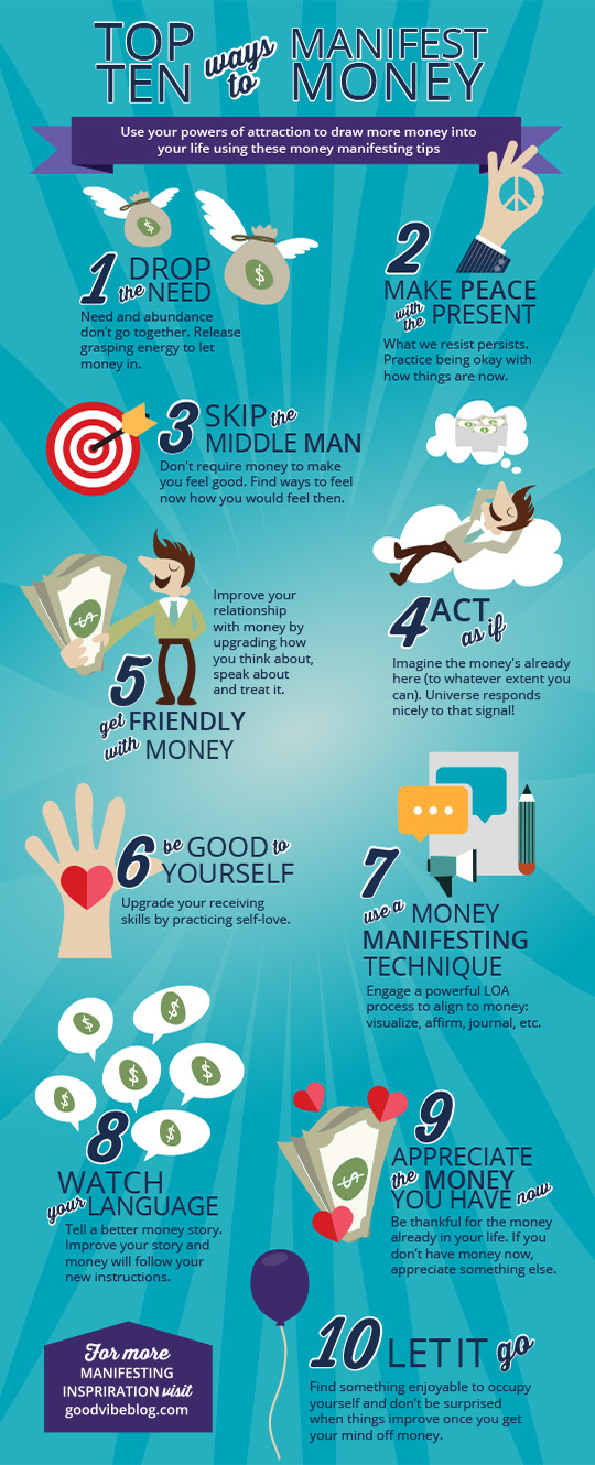 Top 10 Ways to Manifest Money via GoodVibeBlog.com