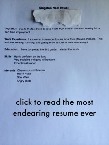 6 year old's resume