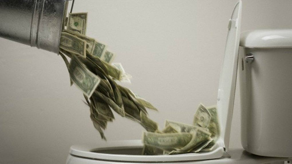 Image result for throwing money in a toilet